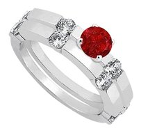 LoveBrightJewelry July Birthstone Created Ruby &CZ Engagement Ring with Wedding Band Set in Sterling Silver