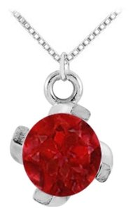 LoveBrightJewelry July Birthstone Created Ruby Pendant in Sterling Silver 1.00 CT TGW