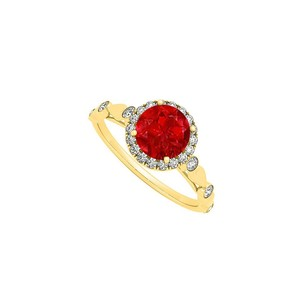 LoveBrightJewelry July Birthstone Round Ruby And Czs Engagement Ring In 18k Yellow Gold Vermeil
