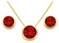LoveBrightJewelry July Birthstone Ruby Pendant and Stud Earrings Set in 18K Yellow Gold Vermeil