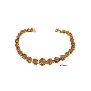 LoveBrightJewelry June Birthstone Prong Set Smokey Quartz Bracelet 18kt Yellow Gold