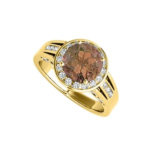 LoveBrightJewelry June Birthstone Smoky Quartz And Cz Ring 2.25 Tgw