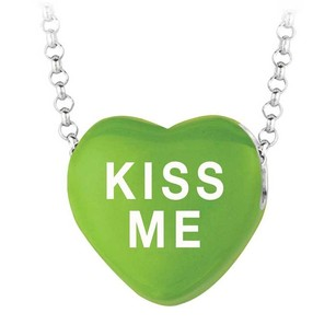 LoveBrightJewelry Kiss Me Green Heart Pendant Necklace Valentine Day Sweethearts Collection