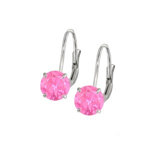 LoveBrightJewelry Leverback Earrings 14K White Gold with Created Pink Sapphire Gemstone