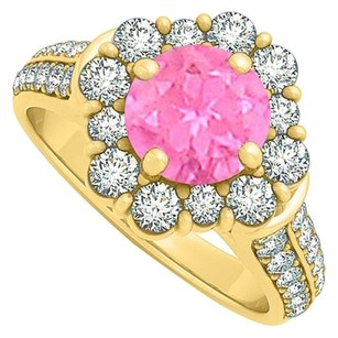 LoveBrightJewelry Lovely Pink Sapphire and Cubic Zirconia Ring 2.00 TGW