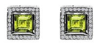 LoveBrightJewelry Lovely Wear Square Green Peridot and CZ Stud Earrings