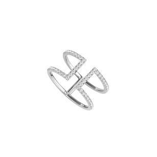 LoveBrightJewelry Mark Your Style with CZ Designer Ring in 14K White Gold