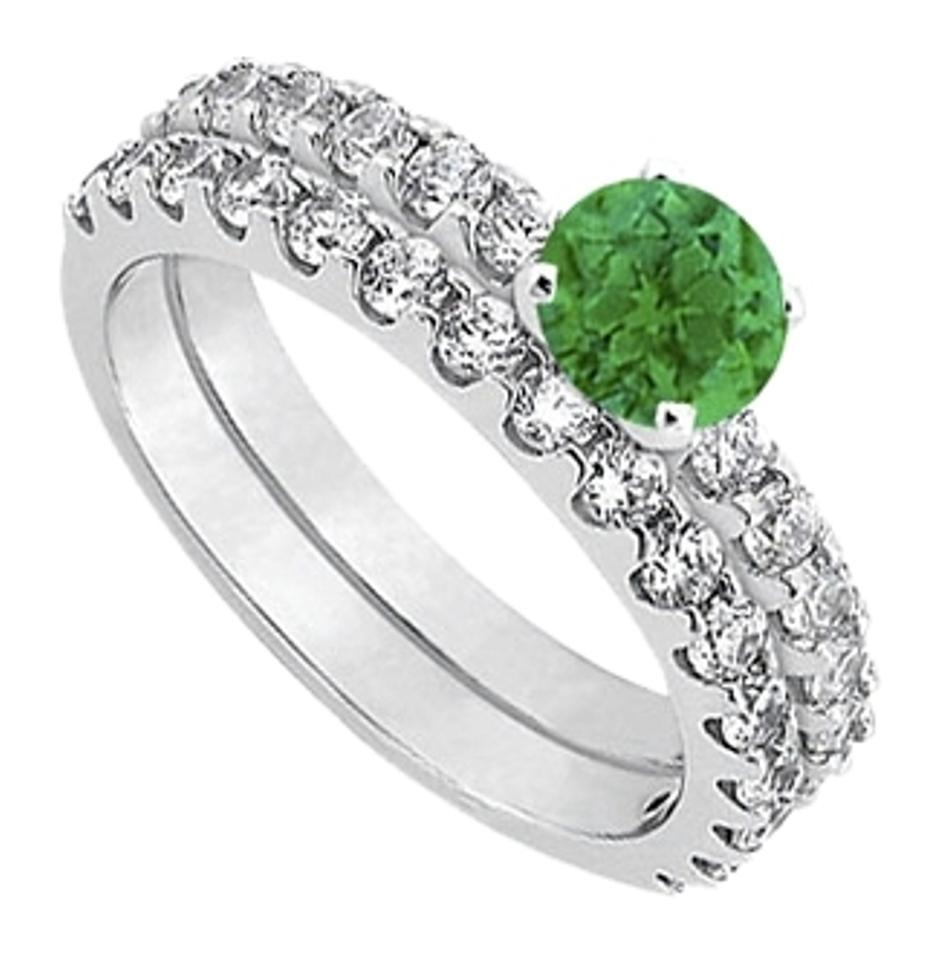 May Birthstone Emerald With CZ Engagement Rings With Wedding Band Set