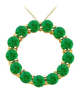 LoveBrightJewelry May Birthstone of Natural Emerald Circle Necklace with 2 Carat