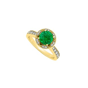 LoveBrightJewelry May Emerald And Cubic Zirconia April Birthstone Engagement Ring