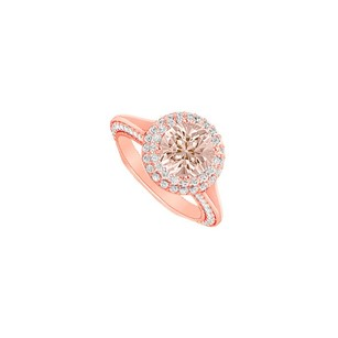 LoveBrightJewelry Morganite And April Birthstone Cubic Zirconia Halo Engagement Ring In 14k Rose Gold Vermeil