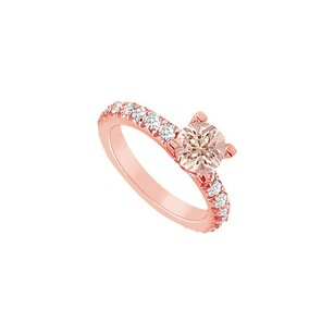 LoveBrightJewelry Morganite And Cz Accents In 14k Rose Gold Engagement Ring Fabulous Design At Amazing Price