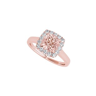 LoveBrightJewelry Morganite and CZ Halo Ring in 14K Rose Gold Vermeil