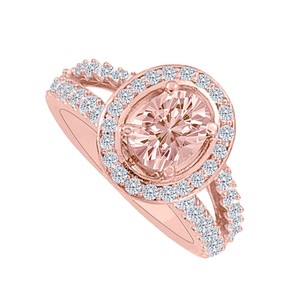 LoveBrightJewelry Morganite And Czs Split Shank Halo Engagement Ring