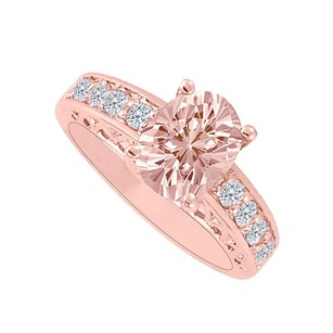 LoveBrightJewelry Morganite And Diamonds 14k Rose Gold Engagement Ring