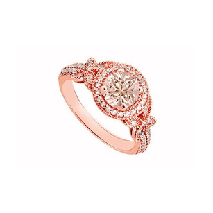 LoveBrightJewelry Morganite April Birthstone Cubic Zirconia Butterfly Engagement Ring In 14k Rose Gold 1.00 Ct Tgw