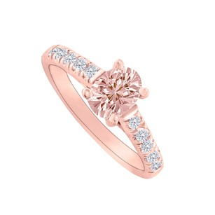 LoveBrightJewelry Morganite Cz Accents Rose Gold Vermeil Engagement Ring