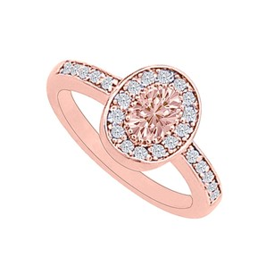 LoveBrightJewelry Morganite Cz Halo 14k Rose Gold Vermeil Engagement Ring