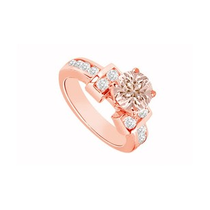 LoveBrightJewelry Morganite With Cubic Zirconia Unique Engagement Ring 14k Rose Gold Vermeil Top Design For Her