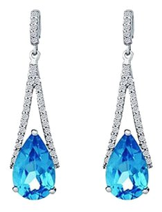 LoveBrightJewelry Natural Diamond and Blue Topaz Drop Earrings White Gold