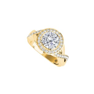 LoveBrightJewelry Natural Diamonds Crossover Engagement Ring Yellow Gold