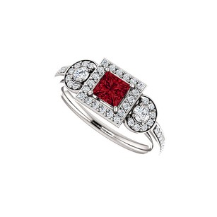 LoveBrightJewelry Natural Ruby Diamond Unique Style Halo Ring White Gold