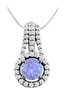 LoveBrightJewelry Natural Tanzanite and Diamond Pendant in 14K White Gold 1.00 Carat TGW