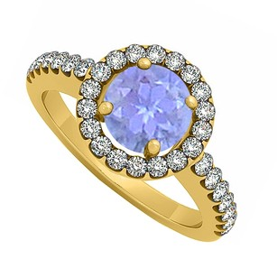 LoveBrightJewelry Newest December Birthstone Tanzanite And Cubic Zirconia Halo Engagement Ring Yellow Gold