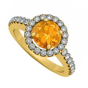 LoveBrightJewelry November Birthstone Citrine And Cubic Zirconia Halo Engagement Ring 18k Yellow Gold Vermeil