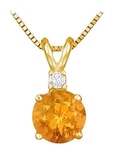 LoveBrightJewelry November Birthstone Citrine Round Pendant with Cubic Zirconia in Gold Vermeil over Silver