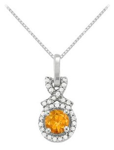 LoveBrightJewelry November Birthstone Citrine with CZ Halo Pendant in Sterling Silver