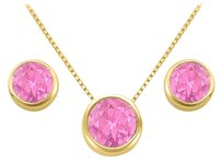 LoveBrightJewelry November Birthstone Pink Topaz Pendant and Stud Earrings Set in 18K Yellow Gold Vermeil
