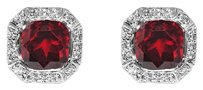 LoveBrightJewelry Octagon Bezel Set Garnet and Round CZ Silver Earrings