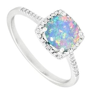 LoveBrightJewelry October Birthstone Opal and Diamond Engagement Rings 925 Sterling Silver 1.50 CT TGW