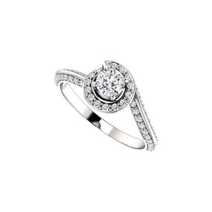 LoveBrightJewelry One Carat CZ Swirl Halo Engagement Ring 925 Silver