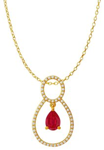 LoveBrightJewelry One Carat Pear Shape Ruby CZ Accented Pendant Vermeil