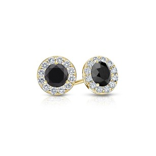 LoveBrightJewelry Onyx and CZ Halo Stud Earrings in 14K Yellow Gold 1.00.ct.tw
