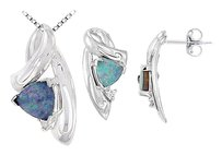 LoveBrightJewelry Opal and Diamond Pendant with Earrings Sets 1.09 CT TGW