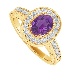 LoveBrightJewelry Oval Amethyst And Cz Halo Engagement Ring 2 Ct Tgw
