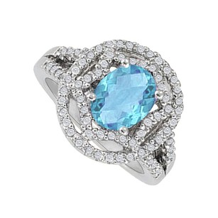 LoveBrightJewelry Oval Blue Topaz And Cz Designer Engagement Ring For Her