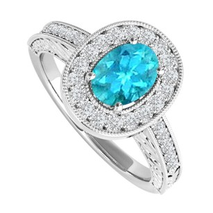 LoveBrightJewelry Oval Blue Topaz And Cz Engagement Ring Sterling Silver