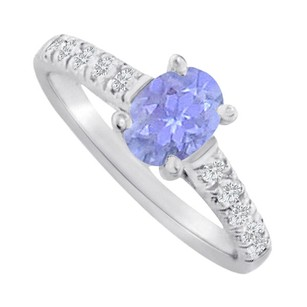 LoveBrightJewelry Oval Blue Topaz And Cz Ring In 14k Rose Gold Vermeil