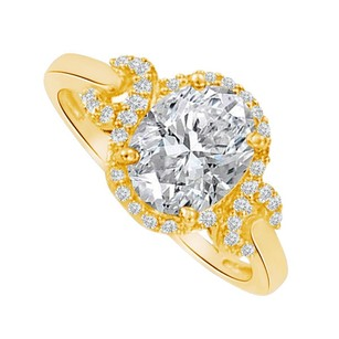 LoveBrightJewelry Oval Cubic Zirconia Engagement Ring In Yellow Gold