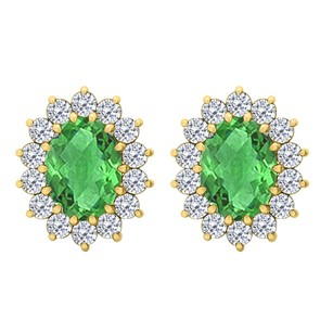 LoveBrightJewelry Oval Emerald and CZ Halo Stud Earrings in 18K Yellow Gold Vermeil