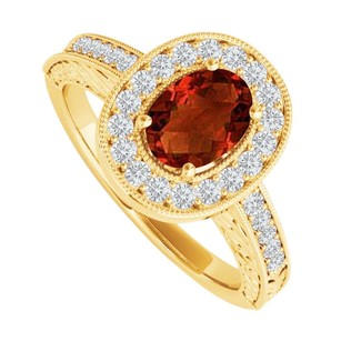LoveBrightJewelry Oval Garnet And Cz Halo Engagement Ring 2 Ct Tgw