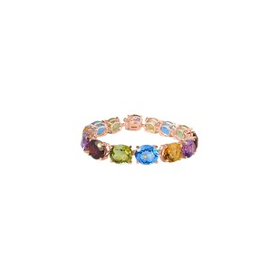 LoveBrightJewelry Oval Multi Gemstone Bracelet in 14K Rose Gold Vermeil 50 CT TGW-