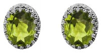 LoveBrightJewelry Oval Peridot Stud Earrings Push Back Sterling Silver