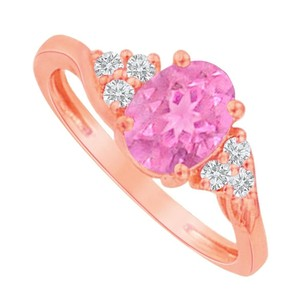 LoveBrightJewelry Oval Pink Sapphire And Cz Ring In 14k Rose Gold Vermeil