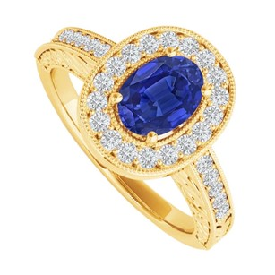 LoveBrightJewelry Oval Sapphire And Cz Halo Engagement Ring Gift For Her