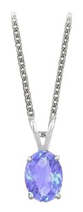 LoveBrightJewelry Oval Shaped Created Tanzanite Pendant Necklace in Sterling Silver. 1ct.tw.